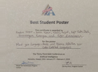 Best Student Poster Award at the AAAI 2019 conference