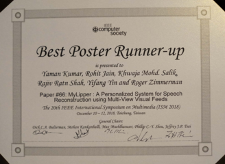 Best Poster Runner-Up Award at the IEEE ISM 2018 conference